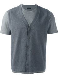 Z Zegna Slim Fit Overlay Button Down Vest T Shirt Grey