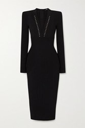 Balmain Lace Up Ribbed Knit Midi Dress Black