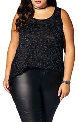 Mblm By Tess Holliday Plus Size Women's Faux Leather Trim Sleeveless High Low Top