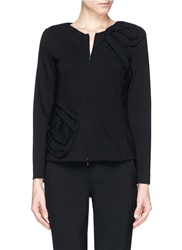 Armani Collezioni Rose Applique Ponte Knit Zip Jacket Black