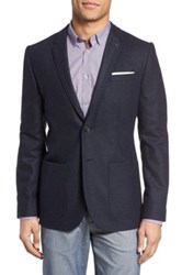 Ted Baker Trim Fit Diamond Pattern Jacket Blue