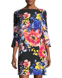 Tahari By Arthur S. Levine 3 4 Sleeve Floral Print Shift Dress Black Pattern
