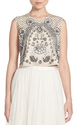 Women's Needle And Thread Embellished Georgette Crop Top