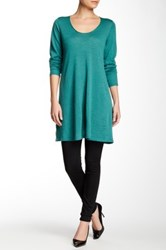 Eileen Fisher Scoop Neck Merino Wool Tunic Sweater Green