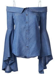 G.V.G.V. Denim Off Shoulders Blouse Blue