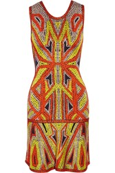 Herve Leger Stretch Jacquard Knit Mini Dress Orange