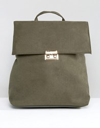 New Look Square Folder Over Backpack Dark Khaki Green