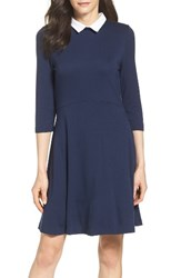 French Connection Women's 'Fast Fresh' Collared Jersey Fit And Flare Dress Nocturnal White