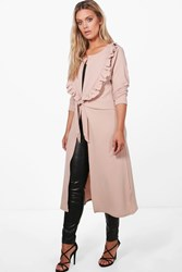 Boohoo Sophie Ruffle Front Duster Jacket Stone