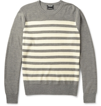 Todd Snyder Striped Knitted Merino Wool Sweater Gray