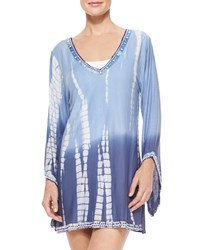 Letarte Ocean Blues Tie Dye Beaded Coverup