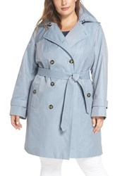 London Fog Plus Size Women's Hooded Double Breasted Trench Coat Chambray