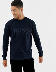 Boss Weave Large Logo Crew Neck Sweat In Navy
