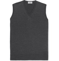 John Smedley Hadfield Merino Wool Sweater Vest Charcoal
