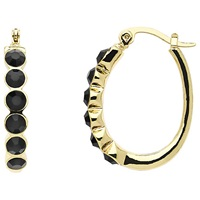 Monet Jet Crystal Hoop Earrings Gold