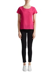 French Connection Classic Crepe Light Pocket Top Hot Pink
