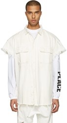 R 13 R13 White Denim Oversized Cut Out Trucker Shirt