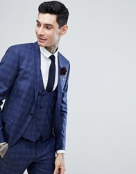 Noose And Monkey Super Skinny Wedding Suit Jacket In Fleck Check Navy