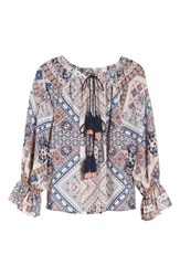 Kas Women's New York Belfast Ikat Peasant Blouse Ikat Print