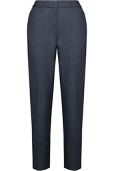 Theory Testra Cropped Printed Stretch Crepe Tapered Pants Midnight Blue