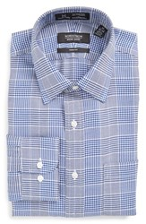 Nordstrom Men's Big And Tall Men's Shop Smartcare Tm Trim Fit Graphic Check Dress Shirt Blue Mazarine