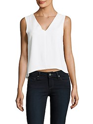 Cooper And Ella Solid High Low V Neck Top White
