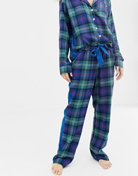 Abercrombie And Fitch Tartan Pyjama Trousers With Side Panel Navy Plaid