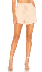 Bcbgeneration Pull On Paper Bag Waist Short In Yellow. Multi