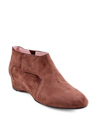 Taryn Rose Feni Suede Wedge Heel Booties Java