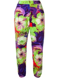 Msgm Floral Jogging Trousers Green