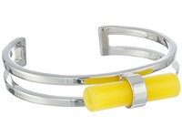 French Connection Tube Cuff Bracelet Silver Yellow Bracelet Gray