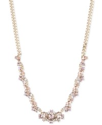 Givenchy Gold Tone Crystal Cluster Collar Necklace