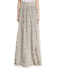 Brunello Cucinelli Summer Faux Fur Maxi Skirt Gray