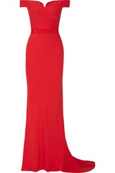 Alexander Mcqueen Off The Shoulder Crepe Gown Red
