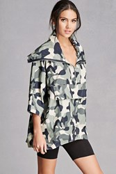 Forever 21 Pixie And Diamond Camo Anorak Olive