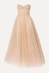 Monique Lhuillier Embroidered Tulle Gown Beige