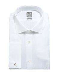 Ike Behar White On White Tonal Stripe Dress Shirt 18L