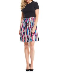 Maggy London Two Tone Pleated Fit And Flare Dress Latte Pink