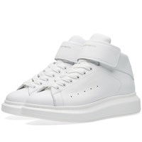 Alexander Mcqueen Oversized Sole Mid Top Strap Sneaker White