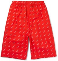 Balenciaga Printed Cotton Poplin Shorts Red