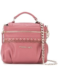 Twin Set Removable Chain Strap Tote Pink And Purple