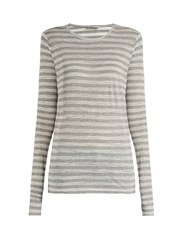 Raey Long Sleeved Sheer Striped T Shirt Grey