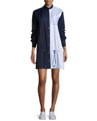 Public School Masika Colorblocked Button Front Shirtdress Navy