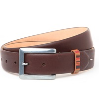 Paul Smith Vintage Multi Striped Keeper Belt Chocolate