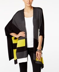 Alfani Colorblocked Open Front Poncho Cardigan Only At Macy's Colorblock Lime