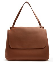 The Row Grained Leather Shoulder Bag Dark Brown