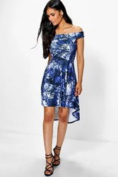 Boohoo Floral Dip Hem Midi Skater Dress Multi