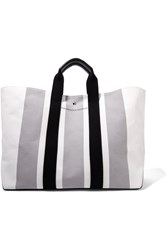 Calvin Klein 205W39nyc Leather Trimmed Striped Canvas Tote White