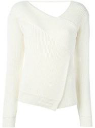 Msgm Cross Front Jumper White
