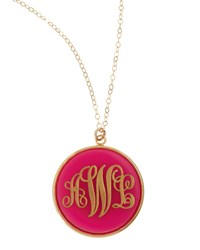 Extra Large Circle Acrylic Script Monogram Pendant Necklace Moon And Lola Blonde Tortoise